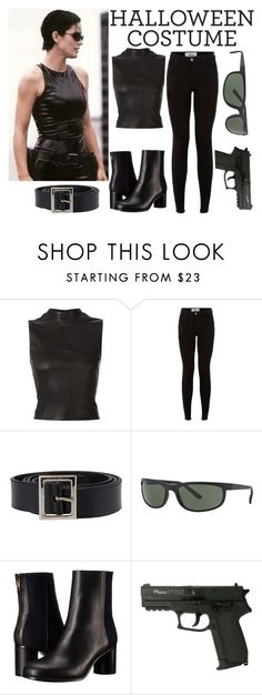 """Trinity from Matrix Halloween Costume"" by rosalie-beeli ❤ liked on Polyvore featuring Narciso Rodriguez, Dolce&Gabbana, Ray-Ban and Paul Smith"