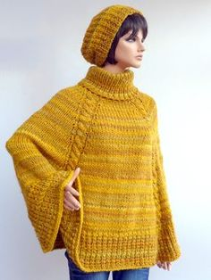 10 Best : Warm poncho universal size knitting instructions for por KnitworkByIna, Finger Knitting, Baby Hats Knitting, Knitting For Kids, Easy Knitting, Uniqlo Women Outfit, Poncho Knitting Patterns, Knitted Poncho, Warm Outfits, Crochet Clothes