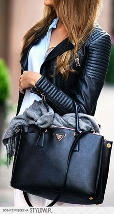 1237b61caec PRADA BAG--Marianna N. is wearing a leather jacket and jeans Zara and a bag  from Prada