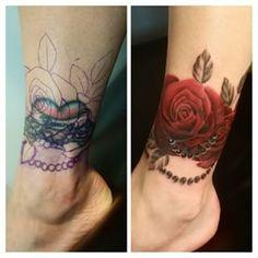 Resultado de imagem para sacred heart Ankle tattoo cover ups Tribal Tattoo Cover Up, Ankle Tattoo Cover Up, Flower Cover Up Tattoos, Back Of Ankle Tattoo, Rose Tattoo Cover Up, Ankle Tattoos For Women, Tattoo Flowers, Anklet Tattoos, Foot Tattoos