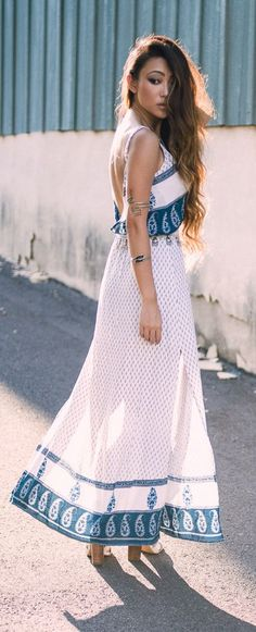 Printed Maxi Dress Boho Style