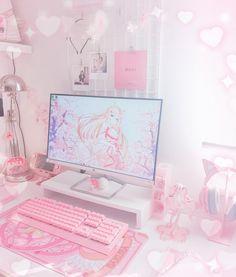 My kawaii pink gaming set up 🌸