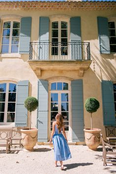 Gal Meets Glam Venasque & Avignon, Provence - Day: Rejina Pyo Dress, Aquazzura x DeGournay Loafers & Mark Cross bag Provence Style, Provence France, French Country House, French Farmhouse, French Cottage, Exterior Colors, Exterior Paint, House Shutters, Magical Home