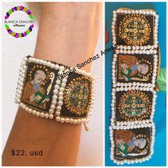 Urban Jewelry, Diy Jewelry, Jewelery, Handmade Jewelry, Jewelry Making, Textile Jewelry, Fabric Jewelry, Mexican Jewelry, Cute Bracelets