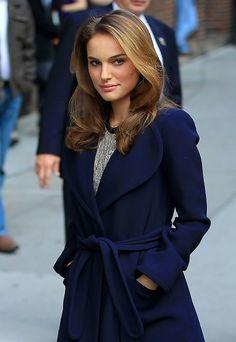 Love her blue coat... and i love her look here!!! Natalie Portman