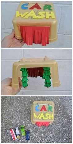 Whipped this Matchbox car wash for the kids this school holidays with items I had around the house. Materials used Ice cream bucket A box can be used Transportation Activities, Car Activities, Fun Outdoor Activities, Preschool Activities, Cars Preschool, Preschool Learning, Toy Car Wash, Kids Crafts, Toddler Fun