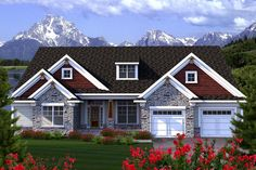 House Plan 96128 | Ranch    Plan with 2129 Sq. Ft., 3 Bedrooms, 3 Bathrooms, 2 Car Garage
