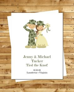 Military Army Wedding Invitations Announcements CUSTOM Set Of 12 These Are