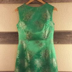 """Vintage Asian Inspired Evening Gown Hand made full length gown in emerald green satin with gold mums. Size is unknown; however, measurements are: waist-30"""", bust-36"""", length-59"""". Like new! All stitching intact, no wear, no stains. Dresses"""