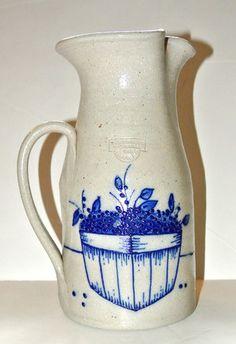 Large 1990 Salmon Falls Cobalt Blueberries Salt Glazed Stoneware Pitcher Vintage | eBay
