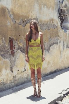 Sexy summer boho chic yellow crochet lace dress, modern hippie style gladiator sandal boots. For the BEST Bohemian fashion trends FOLLOW http://www.pinterest.com/happygolicky/the-best-boho-chic-fashion-bohemian-jewelry-gypsy-/