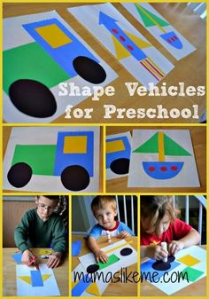 Mamas Like Me: Learning Shapes with Vehicles. Save for preschool transportation unit Transportation Theme Preschool, Preschool Themes, Preschool Crafts, Toddler Activities, Preschool Activities, Learning Shapes, Kids Learning, Classroom, Scissor Skills