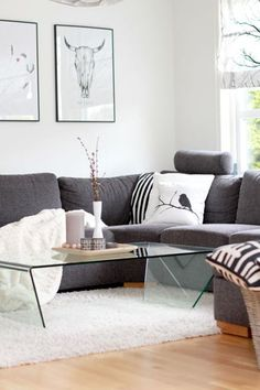 Living Room: black + white + grey scheme combined with stripes + animals prints. It's a great combination.