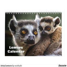Shop Lemurs 2020 calendar created by sunbuds. Lemurs, 2021 Calendar, Beautiful Wall, Christmas Card Holders, Holiday Cards, Owl, Bird, Animals, Gender