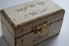 Shabby Chic Customized Ring Box - Ring Bearer Box. $20.00, via Etsy.