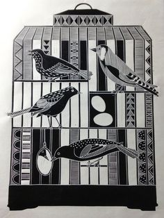 Inside out ©Jan Brewerton Illustration Sketches, Illustrations, Black And White Prints, Bird Cages, Layers Design, Wood Engraving, Printmaking, Art For Kids, Pattern Design
