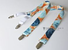 """Little Boy Suspenders. Use Dritz Fashion Fit Clips. / Fabric 19.5"""" long x 2.5"""" Wide. can add interfacing. Sew edges to make tube. Turn inside out. 