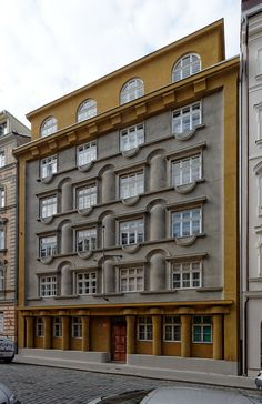 "booksnbuildings: "" ""Rondocubistic apartment house of the Co-operative of Prague Teachers; architect: Otakar Novotný, built in Prague Kamenická + "" Architecture Jobs, Futuristic Architecture, Amazing Architecture, Interesting Buildings, Architectural Elements, Building Design, Living Spaces, Art Deco, Art Nouveau"
