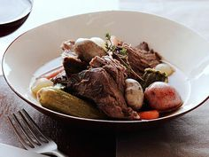 Pot Roast with Baby Vegetables recipe from Tyler Florence via Food Network. All veg at once. Crock Pot Slow Cooker, Slow Cooker Recipes, Crockpot Recipes, Soup Recipes, Cooking Recipes, Recipies, Weeknight Recipes, Lamb Recipes, Freezer Cooking