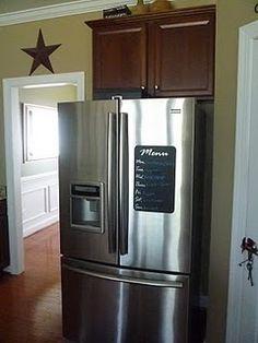 chalkboard vinyl on stainless fridge Chalkboard Vinyl, Silhouette Machine, Vinyl Lettering, Vinyl Projects, French Door Refrigerator, Boards, Kitchen Appliances, Chalk Board, Cool Stuff