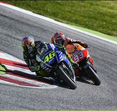 The master and the apprentice! Valentino Rossi and Marc Marquez battling at Misano Marco simoncelli circuit. Rossi won and Marquez had a small crash and eventually finished 15th 2014