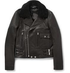 Givenchy - Shearling-Trimmed Leather Biker Jacket