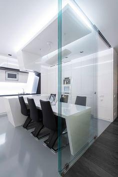 Futuristic Axioma Apartment in Black and White by Geometrix Design - http://freshome.com/2014/12/01/futuristic-axioma-apartment-in-black-and-white-by-geometrix-design/