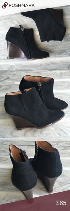 """Halogen black suede ankle boots 6 NWT Halogen black suede ankle boots 6 NWT. Super cute. Heel height 3.5"""". Leather upper, synthetic sole. The right boot has marks (please inspect pics carefully). It is not very noticeable. Bottom has tags. Will not come with box Halogen Shoes Wedges"""