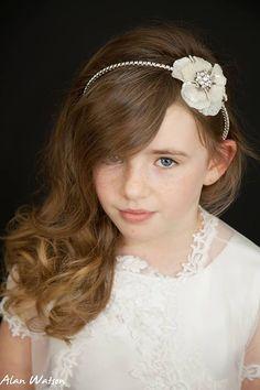 Luxury Rhinestone flower childrens pearl headband crystal designer diamonte flowergirl bridesmaid first holy communion