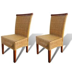 SKB Family Dining Chairs 2 pcs Rattan Brown Oak and Vintage Set