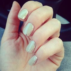 Half moon nails with sparkles