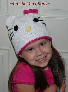 Free Crochet Hello Kitty Hat pattern.