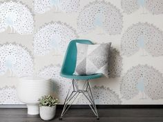 The Riikinkukko wallpaper recreates a colourful and imperial Peacock with the gloriously iridescent plumage. Peacock Wallpaper, Paper Wallpaper, Bachelorette Pad, Blue Wallpapers, Designer Wallpaper, Blue Grey, Color Schemes, Accent Chairs, Home And Family