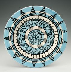 Bohemian Mandala Platter / Plate with Graphic by owlcreekceramics