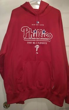 Majestic Unisex Philadelphia Phillies 07 Playoffs Therma Base Hoodie Size XL #Majestic #PhiladelphiaPhillies
