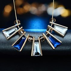 crystal geometricnecklaces 18k gold plated