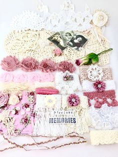 The listing is for one kit of Precious Memories Collection.  If you live outside the USA, please message me before you make a purchase so I can offer you the best shipping rate!  The kit is loaded with a lot of precious and vintage items. Beautiful color for vintage style art and craft projects.  Are you dreaming of creating a doily book in vintage style but dont know where to start and what to buy? Well, you dont have to feel lost anymore because I put together beautiful kit to get you…