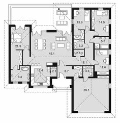 Projekt domu Madera 164,9 m2 - koszt budowy - EXTRADOM Modern House Design, Home Projects, Planer, House Plans, Sweet Home, Floor Plans, How To Plan, Architecture, Houses