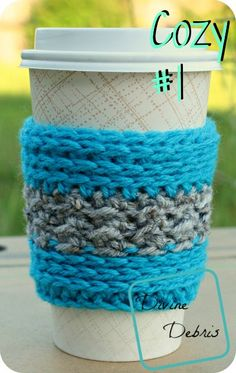 Diana Travel Mug Cozy #1, a free crochet patttern, by Divinedebris.com #DivineDebris #MadMadMakers