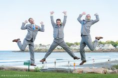 Groom & Best Men ~ Jumping Good Times at York Beach ~ Union Bluff Meeting House, York, ME ~ Photography by Artifact Images NH, ME, MA Wedding Photographers