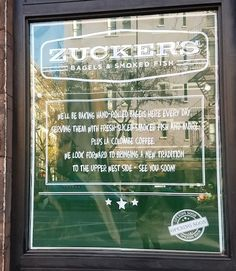 Zucker's Bagels said in October that it would be opening on Columbus between 72nd and 73rd this month. A sign outside promises hand-rolled bagels, smoked fish and Colombe coffee and indicates the opening is near, but the company hasn't gotten back to us with specifics yet.
