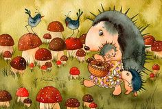 Mushroom place by Victoria Kirdiy Cute Animal Illustration, Creative Illustration, Illustration Art, Hedgehog Art, Cute Hedgehog, Floral Photography, Pictures To Draw, Painting & Drawing, Illustrators