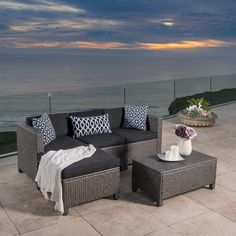 Outdoor Puerta 5-piece Wicker L-shaped Sectional Sofa Set with Cushions by Christopher Knight Home - Free Shipping Today - Overstock.com - 18105282