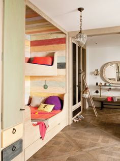 bunk room w/built-in bunk beds Bunk Beds For Sale, Bunk Beds Built In, Bunk Bed With Trundle, Modern Bunk Beds, Kids Bunk Beds, Décoration Mid Century, Mid Century Decor, Modern French Interiors, Cute Furniture