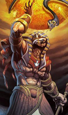 Ra sun God fighting the serpent God of the original primal chaos Apep.