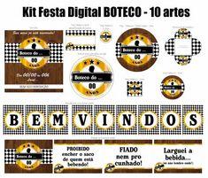 kit festa boteco Decoration Party Ideas, Birthday Decorations, Birthday Party Themes, Beer Tasting Parties, Luau, Party Printables, Diy And Crafts, Wedding, 30