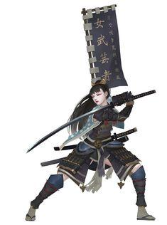 Samurai by Midfinger on DeviantArt Female Character Design, Character Design Inspiration, Character Art, Dnd Characters, Fantasy Characters, Female Characters, Ronin Samurai, Samurai Warrior, Female Samurai Art