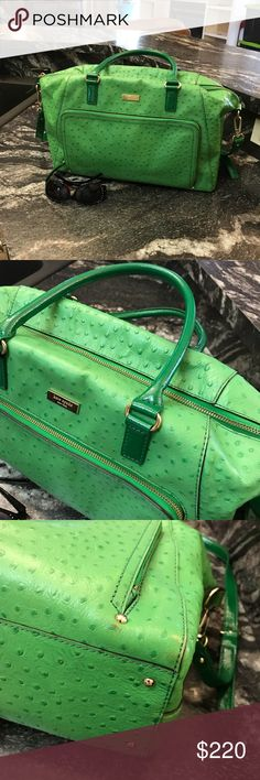 🧚♂️KATE SPADE XL Catalina bag KATE SPADE Catalina in a gorgeous spring Green.  Ostrich embossed leather.  HUGE bag!!! Only wear are on 2 corners (shown close up) inside is pristine!! Used on a trip last year as a weekender bag (note to self... do not put in overhead storage on ✈️ this is how corners happened 🙄). Never used long strap only carried by hand.    Measures approximately 15 1/2Lx10 1/2Hx6D Handle drop 8 1/2 Long strap at shortest 19 (adjustable)  This is an awesome…