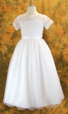First Communion Dress with Lace Appliqué and Illusion Bodice from Catholic Faith Store (6 Tea Length, White)