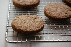 Digestive Biscuits cup whole wheat spelt flour; 1 cups old-fashioned rolled oats; 1 t baking powder; cup unsalted butter, cold and cubed; 4 ounces dark or milk chocolate, chopped (optional)} Digestive Cookies, Digestive Biscuits, Cookie Recipes, Snack Recipes, Dessert Recipes, Desserts, Flour Recipes, Delicious Recipes, Snacks